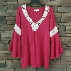 Umgee V-neck Red Top.  NWOT